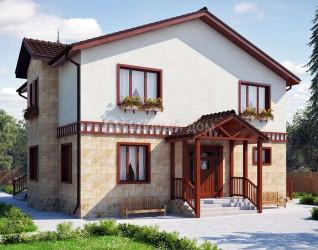 Дом 12.4 м × 9.9 м c двускатной крышей