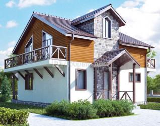 Дом 10.1 м × 9.4 м c двускатной крышей