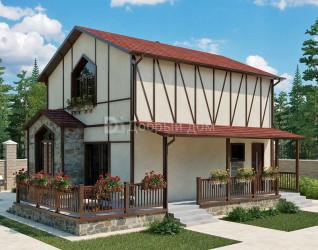 Дом 9.5 м × 7 м c двускатной крышей