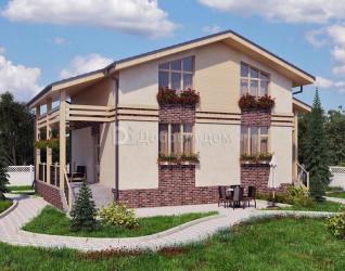 Дом 9 м × 9 м c двускатной крышей