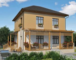 Дом 9.5 м × 8.5 м c четырехскатной крышей