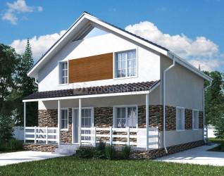 Дом 10 м × 10 м c двускатной крышей