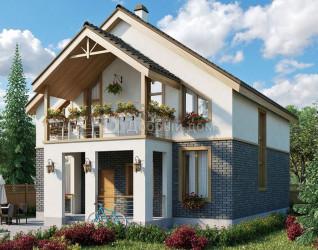 Дом 10.5 м × 10.1 м c двускатной крышей