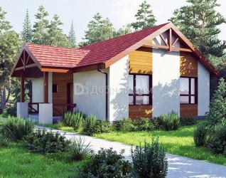 Дом 11.7 м × 8.6 м c двускатной крышей