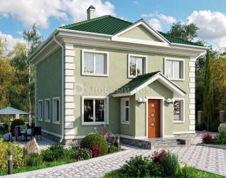 Дом 10.3 м × 10.3 м c четырехскатной крышей
