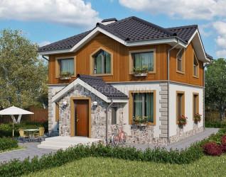Дом 9.2 м × 8.7 м c четырехскатной крышей