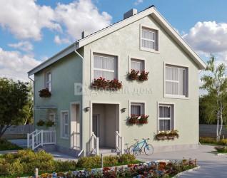 Дом 10.2 м × 9.8 м c двускатной крышей