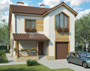 Дом 11.7 м × 9.3 м c двускатной крышей