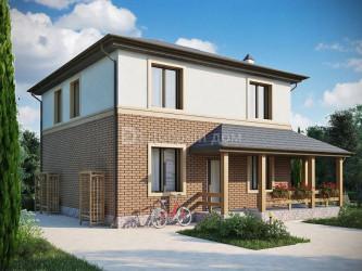 Дом 9.9 м × 9.3 м c четырехскатной крышей