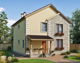 Дом 10.3 м × 9.8 м c двускатной крышей