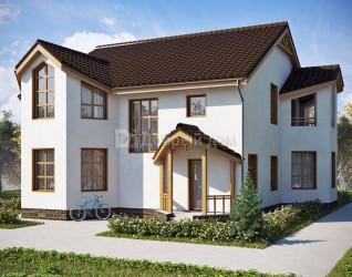 Дом 13 м × 13 м c двускатной крышей