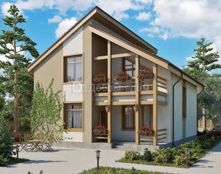 Дом 11.9 м × 9.5 м c двускатной крышей