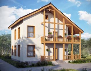 Дом 9.25 м × 9.1 м c двускатной крышей