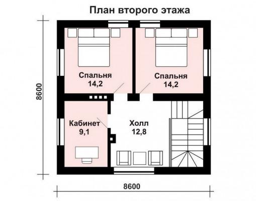 Дом 8.6 м × 8.6 м c двускатной крышей