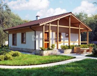 Дом 9.9 м × 9.2 м c двускатной крышей