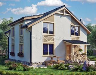 Дом 9.6 м × 9.3 м c двускатной крышей