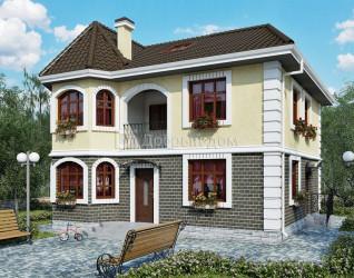 Дом 10 м × 9.5 м c четырехскатной крышей