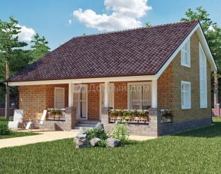 Дом 10 м × 10 м c двускатной, мансардной крышей