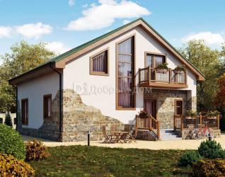 Дом 10.8 м × 10.8 м c двускатной крышей