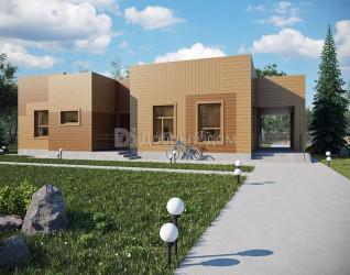 Дом 18.7 м × 10.4 м c плоской крышей