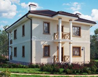 Дом 9.5 м × 9.5 м c четырехскатной крышей