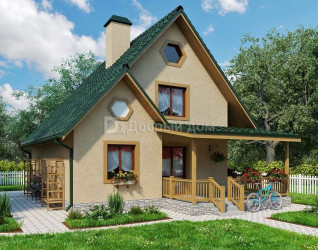 Дом 8.8 м × 7 м c двускатной крышей