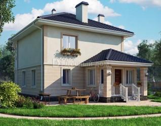 Дом 9 м × 8.5 м c четырехскатной крышей