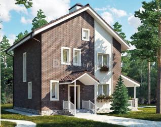 Дом 9 м × 8.3 м c двускатной крышей