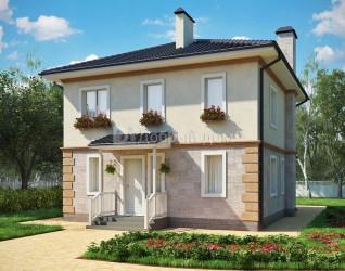 Дом 9.9 м × 8.3 м c четырехскатной крышей