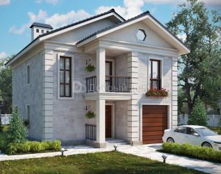 Дом 11.5 м × 9 м c двускатной крышей