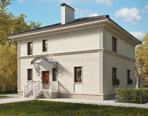Дом 9.9 м × 9.7 м c четырехскатной крышей