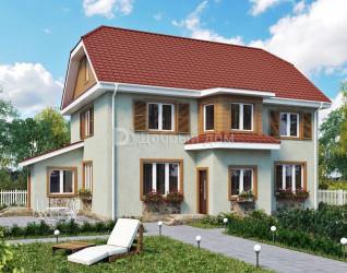 Дом 12.2 м × 8.2 м c мансардной крышей