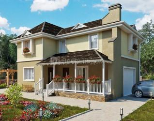 Дом 12 м × 8.7 м c четырехскатной крышей