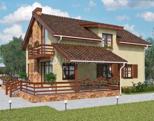 Дом 10.9 м × 9.9 м c двускатной крышей
