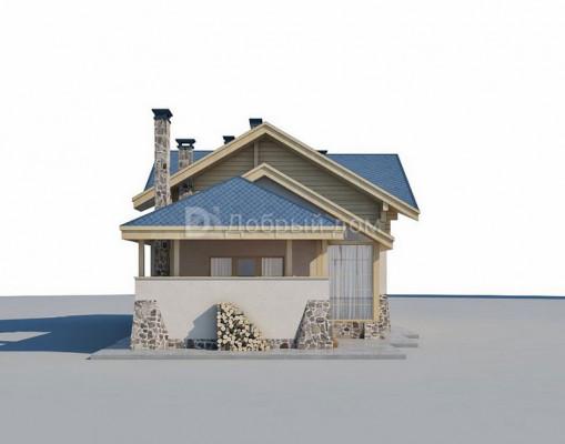 Дом 14.4 м × 8.6 м c четырехскатной, мансардной крышей