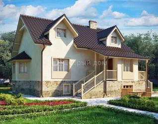 Дом 11.7 м × 11.5 м c двускатной крышей