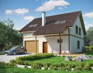 Дом 10.7 м × 10 м c двускатной крышей