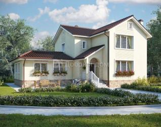 Дом 16 м × 12.1 м c четырехскатной крышей