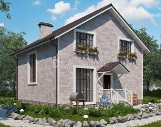 Дом 9.27 м × 9.27 м c двускатной крышей