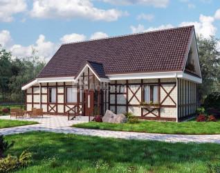Дом 17.9 м × 7.5 м c двускатной крышей