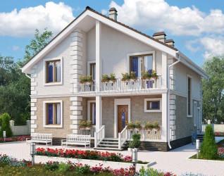 Дом 10.96 м × 9.96 м c двускатной крышей