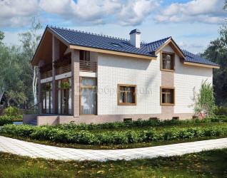 Дом 15.8 м × 7 м c двускатной крышей