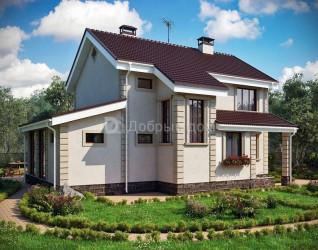 Дом 10.9 м × 8 м c двускатной крышей