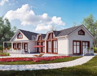 Дом 11.2 м × 6.9 м c двускатной крышей