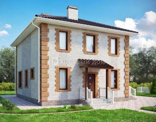 Дом 10.4 м × 8.8 м c четырехскатной крышей