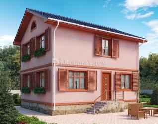 Дом 9.5 м × 7.5 м c двускатной крышей