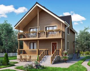 Дом 11.6 м × 8.4 м c двускатной крышей