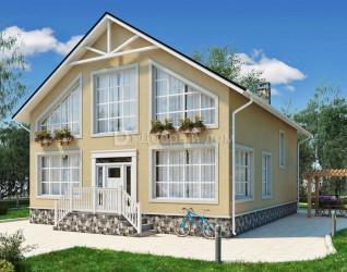 Дом 12 м × 9 м c двускатной крышей