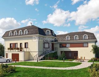 Дом 24.4 м × 17 м c четырехскатной, мансардной крышей