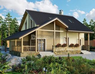 Дом 13.5 м × 11.8 м c двускатной крышей